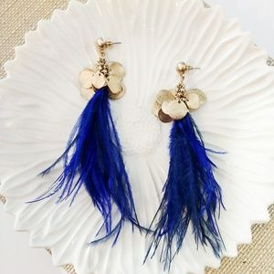 Gold & Blue Feather Earrings
